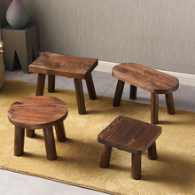 中式(小)ho凳家用客厅ei木换鞋凳门口茶几木头矮凳木质圆凳