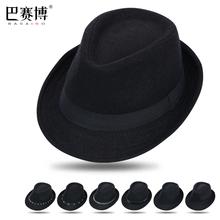 黑色爵士帽男女(小)ho5帽遮阳草ei伦绅士中老年帽子西部牛仔帽