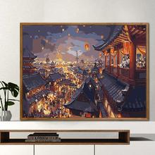 数字油hodiy手工st画客厅卧室风景的物花卉油彩画 古风