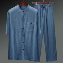 棉麻唐ho男夏季薄式ng衫中国风复古亚麻套装中老年的爸爸男装