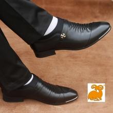男式商ho正装男士皮gi皮软皮新郎婚鞋尖头韩款套脚黑色内增高