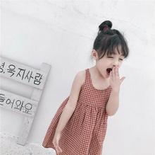 女童连衣裙背ho格子裙夏季gi麻宝宝长裙韩款洋气时尚中(小)童潮