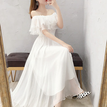 超仙一字肩白色雪纺连衣裙