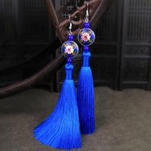 蓝色民族风气质百搭ho6坠复古风st度假耳环流苏长式古典耳饰