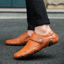 春季男ho豆豆鞋男韩st社会真皮个性休闲皮鞋懒的一脚蹬潮男鞋