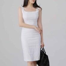 白色吊ho连衣裙20st式夏气质收腰修身方领无袖连衣裙女