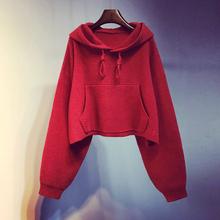202ho新式韩款宽pi短式秋冬季套头针织衫慵懒风外套上衣潮女装