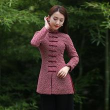 唐装女ho装 加厚中pi式复古旗袍(小)棉袄短式年轻式民国风女装