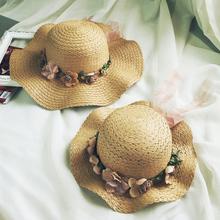 韩款波ho大沿花朵草pi防晒遮阳帽出游沙滩凉帽子潮夏宝宝女士