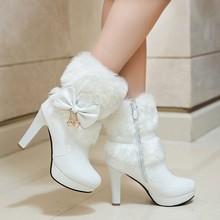 202ho新式甜美公pi女鞋秋冬季短靴雪地女中靴女靴子粗跟短筒靴