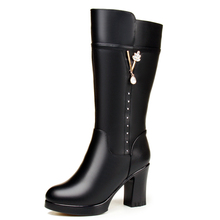 高档圆ho女靴子羊皮pi高筒靴粗跟高跟大码妈妈大棉鞋长靴