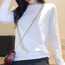 202ho秋季白色Tta袖加绒纯色圆领百搭纯棉修身显瘦加厚打底衫