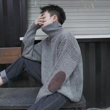 冬季日ho复古灯芯绒ti厚高领毛衣男潮流针织衫宽松套头