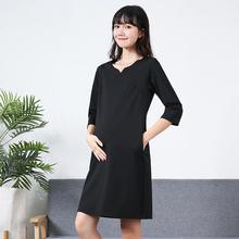 孕妇职ho工作服20nk季新式潮妈短袖黑色V领中长式纯棉连衣裙