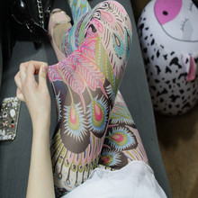 女外穿ho式夏天波西ma色(小)脚裤高腰显瘦弹力九分裤