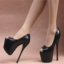 秋冬恨天高16cmho6高跟凉鞋ma台漆皮单鞋性感女王鱼嘴鞋