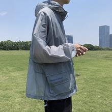 夏季薄ho透气防晒衣ma潮流连帽机能工装夹克港风宽松运动外套