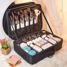 化妆包ho业大容量手to隔板美睫纹绣工具箱收纳包化妆师跟妆箱