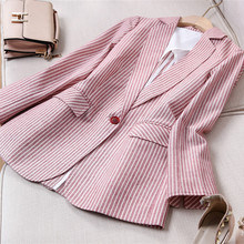 亚麻(小)hp装外套女2ak夏季新式时尚百搭长袖棉麻休闲薄式西服短式