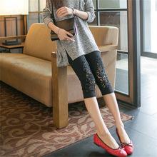 包邮春hp季新式女式jh案高品质蕾丝莫代尔七分裤(小)脚打底裤子