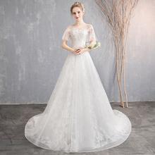 一字肩主婚纱2021新hq8春夏季修58地白色简约新娘结婚(小)拖尾