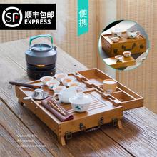 竹制便hq式紫砂青花nv户外车载旅行茶具套装包功夫带茶盘整套