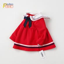 女童春hq0-1-2mv女宝宝裙子婴儿长袖连衣裙洋气春秋公主海军风4