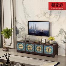 新中式hq木家用客厅sl典地柜(小)户型简易整体组合靠墙柜