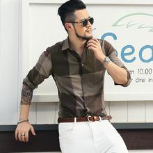 秋季新hs亚麻拼色型fl衬衫 男装麻料衬衣休闲棉麻衬衫 S803-3