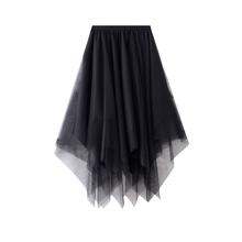 不规则hs色网纱半身lg秋2021新式(小)个子高腰a字(小)黑裙