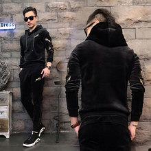 男士运hs卫衣套装2yz韩款社会刺绣连帽秋冬装金丝绒两件套休闲服