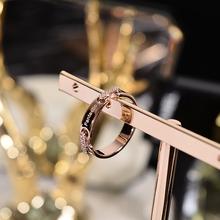 韩京钛钢镀玫ht3金色食指zq韩款戒子指环潮的流行网红装饰品