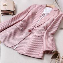 亚麻(小)hu装外套女2an夏季新式时尚百搭长袖棉麻休闲薄式西服短式