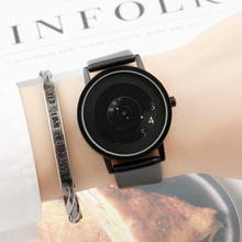 黑科技hu款简约潮流wl念创意个性初高中男女学生防水情侣手表