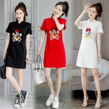 今年流hu年轻式少女ba绣米奇方便改良款连衣裙夏日常可穿
