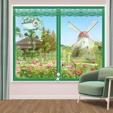 夏季自hu型防蚊纱窗yi磁铁纱门帘免打孔磁性窗纱网窗帘可拆卸