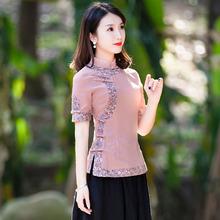 棉麻上hu女唐装中国ou风改良短袖古装汉服套装两件套女装夏