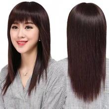 假发女hu发中长全头ou真自然长直发隐形无痕女士遮白发假发套