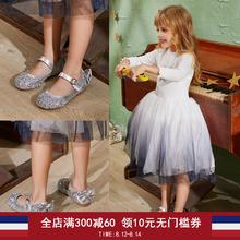 女童鞋hu公主鞋水晶ou童银色皮鞋公主鞋礼服鞋走秀花童演出鞋
