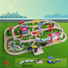 木质轨hu电动(小)火车ou车3-5-7岁宝宝积木玩具兼容米兔、(小)米