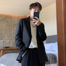 ONEhuAX春季新ei黑色帅气(小)西装男潮流单排扣宽松绅士西服外套