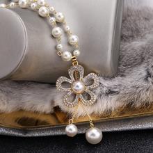 珍珠项hu女长式日韩ot搭水晶流苏毛衣挂链秋冬服饰装饰链挂件