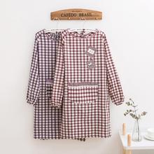 可爱时hu厨房家用女an布加大长袖防油成的反穿工作服
