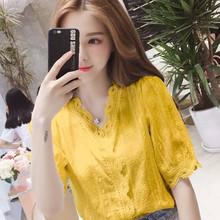 夏装新hu短袖女20an衣衬衫V领花边灯笼袖刺绣棉纺蕾丝衬衫27