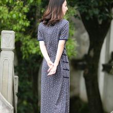 夏旗袍hu良款连衣裙an少女复古宽松新中式棉麻民族中国风女装