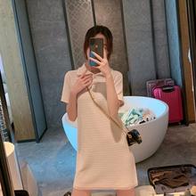 裙子女hu季遮胯显瘦an个子polo领(小)香风冰丝针织直筒连衣裙