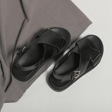 网红女hu女风夏inan020年新式交叉绑带学生平底罗马鞋