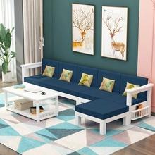 白漆实hu沙发组合客an沙发(小)户型松木三的转角单的木沙发简约