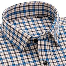夏季中hu衬衫男长袖an爸装男士老的格子免烫中老年的爷爷衬衣