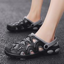 男士凉hu夏季202an鞋回力洞洞鞋男包头凉鞋拖鞋两用防滑镂空鞋